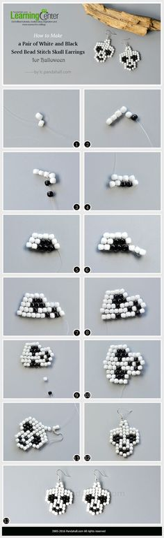 Wanna make skull earrings for the coming Halloween? This tutorial will show you how to make white and black seed bead stitch skull earrings. Seed Bead Jewelry, Bead Jewellery, Seed Bead Earrings, Seed Beads, Bugle Beads, Skull Earrings, Beaded Earrings, Beaded Bracelets, Bead Jewelry