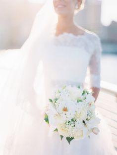 White, classic bouquet with minimal green accents