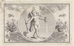 Frederik Ottens   Embleem met putto met ster, Frederik Ottens, 1717 - 1770   Een putto met een ster op zijn hoofd. In zijn handen houdt hij een brandende toorts en een (regen?) strooier. Aan weerszijden duiven die door regen vliegen.
