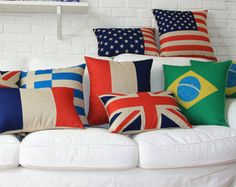 The 2014 World Cup BR and US Flag Decorative Pillow Case