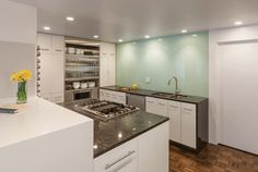Nice use of either back painted glass or high gloss acrylic wall panels in this smaller kitchen