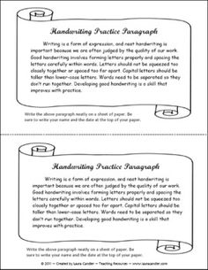 Handwriting practice paragraph freebie - includes lined handwriting paper for practicing penmanship