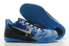 """Kobe IX Premium Collection EM """"Game Royal"""" Metallic Silver and Blue Hero Colorway Low-top Nike Brand Trainers"""