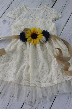 Ivory Flower Girl Dress Set Dress ~♥~ 1 Sash ~♥~ 1 Headband ~♥~ This Ivory Lace Dress is perfect for a Rustic Shabby Chic Wedding. This dress is fully lined and features beautiful Ivory lace overlay with ivory underlay. A beautiful ivory tulle show Flower Girl Dresses Country, Rustic Flower Girls, Rustic Flowers, Girls Dresses, Chic Wedding, Our Wedding, Dream Wedding, Wedding Ideas, Wedding Burlap