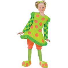 Costume includes a neon lime green dress with orange polka dots, and checkered long sleeves. The dress is trimmed in faux fur, and has a wire hoop at the bottom of the dress. The bright orange bloomer