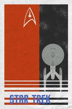 Star Trek retro poster minimalist art movie poster print art poster print 11x17 Red