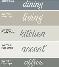 Sherwin Williams whole home palette. by cara – Sherry Pittillo Sherwin Williams whole home palette. by cara Sherwin Williams whole home palette. by cara Farmhouse Paint Colors, Paint Colors For Home, Farmhouse Decor, Paint Colours, Office Paint Colors, Blue Grey Paint Color, Modern Farmhouse, Off White Paint Colors, Country Paint Colors