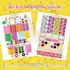 Alice in Wonderland Printable Planner Stickers Mini Kits pdf 2 jpeg Erin Condren Life Planner Filofax MAMBI Color Crush Websters