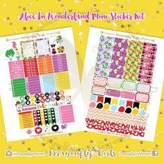 Alice in Wonderland Printable Planner Stickers Mini Kits pdf 2 jpeg Erin Condren Life Planner Filofax MAMBI Color Crush Websters