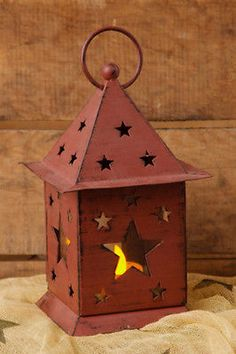 Country Primitive Punched Star Tin Glass Lantern Burgundy Cute New