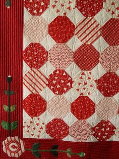 love the quilting for this quilt, and the colors too  Snowball red and white quilt