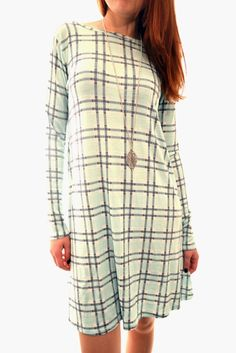 Online Women's Clothing and Celebrity Inspired Dresses Tartan, Plaid, Checker Print, Swing Dress, Dress Fashion, Knitwear, Fashion Looks, Clothes For Women, Long Sleeve
