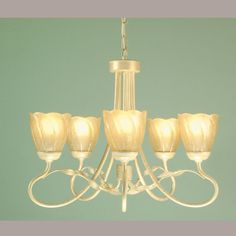 Lovely 5 arm chandelier in an ivory and gold finish.  Handmade in England to the highest quality.