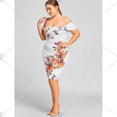 1668031200ffb Plus Size Off The Shoulder Floral Formal Dress - White Xl Mobile Off The  Shoulder