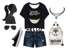 """Untitled #2844"" by doinacrazy ❤ liked on Polyvore featuring Amethyst Jeans, Converse, Moschino, Ray-Ban and Lisa Perry"