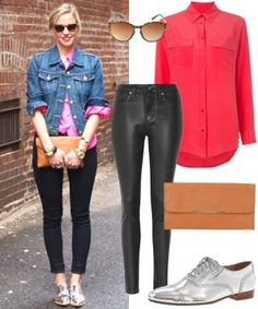 To recreate Phillips' spot-on style, we opted for coated denim, a silk shirt in a bold hue, and a classic jean jacket (optional, if it's really sticky out). Some cat-eye sunnies, a stone bangle, and the perfect pair of silver oxfords complete the look.