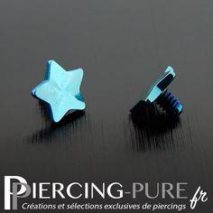 Embout étoile en acier plaqué titane bleu de diamètre 4mm pour microdermal. Piercings, Plaque, Jewlery, Creations, Stud Earrings, Pure Products, Tattoos, Fashion, Steel