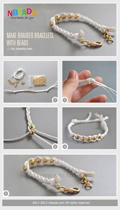 Make Braided Bracelets with Beads beads diy