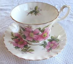 "Royal Albert ""Prairie Rose"" Tea Cup and Saucer by TheAcreage on Etsy https://www.etsy.com/listing/248480644/royal-albert-prairie-rose-tea-cup-and"