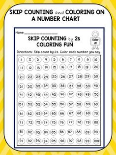 Skip Counting: This product offers 4 worksheets that ask the kids to practice skip counting in a FUN, SIMPLE, and EFFECTIVE way. The kids will skip count by 2s, 3s, 5s, and 10s and color the numbers they say on the number chart. It's a great way to help the visual learners understand number patterns.