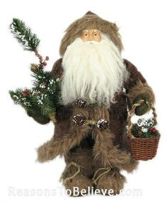 """12"""" Plush Santa with Patchwork and Basket 