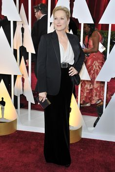 Meryl Streep in Lanvin and Fred Leighton on the Oscars 2015 Red Carpet. [Photo by Donato Sardella]