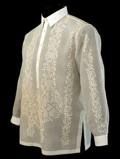 Piña-Jusi Raya Barong Tagalog www.barongsrus.com Barong Tagalog Wedding, Barong Wedding, Wedding Attire, Baro't Saya, Modern Filipiniana Dress, Filipino Wedding, Diy Fashion, Mens Fashion, Bespoke Shirts