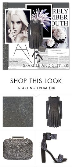 """""""sparkle and glitter"""" by lifestyle-ala-grace ❤ liked on Polyvore featuring BCBGMAXAZRIA, F, Topshop, Dorothy Perkins, Silver, dress, grey and glitter"""
