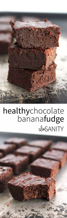 This healthy chocolate banana fudge is the perfect dessert to pack for your lunch! | slimsanity.com
