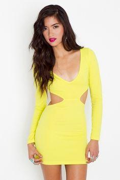 Neon Cutout Dress - StyleSays