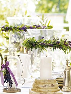 more lavender wedding decor Purple Home, Wedding Centerpieces, Wedding Decorations, Table Decorations, Lavender Centerpieces, Centrepieces, Deco Violet, Lavender Wreath, Lavander