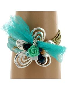 Turquoise Multi-Cord and Bead Silvertone Flower Bracelet