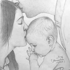 Mom and Baby Mom Drawing, Family Drawing, Girl Drawing Sketches, Art Drawings Sketches Simple, Sketch Art, Art Drawings Beautiful, Dark Art Drawings, Girly Drawings, Pencil Art Drawings