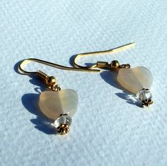 Chalcedony Heart and Natural Crystal Gold Filled Earrings | Alisuns - Jewelry on ArtFire Under $7 until noon Pacific 6/5/13