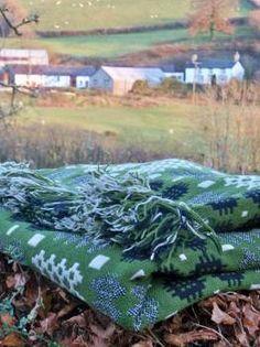 Welsh blankets. olive green tapestry from welshblankets.co.uk