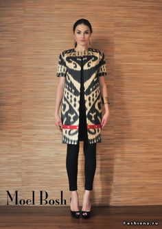 Ikat coat by Moel Bosh Half sleeve tunic Batik Blazer, Blouse Batik, Batik Dress, Kimono, Batik Fashion, Ethnic Fashion, African Fashion, Indian Fashion, Womens Fashion
