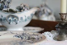 Antique, blue, Villeroy & Boch, Sarreguemines, faience, ironstone