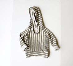 olive striped BEACH hoodie  // handmade baby/toddler by childHOODS, $40.00