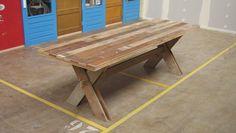 Tweede lange tafel van oude vloerdelen | Signed