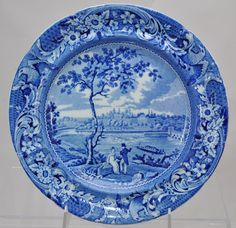 Historical Blue Staffordshire Stubbs Fair Mount Near Philadelphia Plate c 1830 White Dinner Plates, White Dishes, White Plates, Blue And White China, Blue China, Color Combinations Home, Blue Pottery, Iron Decor, Vintage Dishes