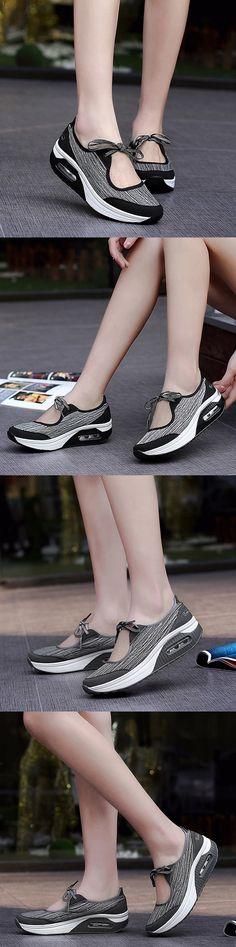 Mesh Rocker Sole Platform Lace Up Sport Casual Shoes