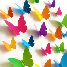 Pvc multicolor Butterfly Wall Sticker Art Decal living room Solid color Butterflies for Home decor Mural DIY Decals(China) 3d Butterfly Wall Decor, 3d Butterfly Wall Stickers, Butterfly Crafts, Butterfly Felt, Paper Butterflies, Paper Flowers, Art Mural Papillon, Cheap Wall Stickers, Art For Kids