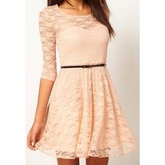 Light Pink Long Sleeve Drawstring Lace Dress ($31) ❤ liked on Polyvore