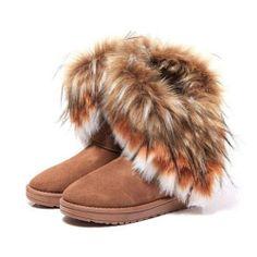 Zlyc Women's Bohemian Winter Furry Boots With Long Fur 56