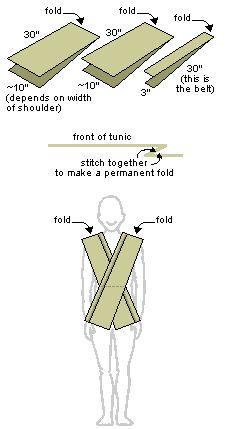Jedi Tunic fabric.  Sew the fold in the tunic in place to give the appearance of more layers. How the Jedi tunic should look on you
