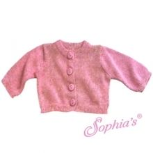 """Fine Gauge Pink Knit Sweater Cardigan that fits 18"""" American girl dolls. Special discount code PIN10"""