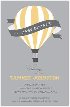 Hot Air Balloon Pastel Yellow Baby Shower Invitations, 25540