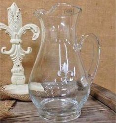 Glass Fleur De Lis Pitcher for Lemonade or Sweet Tea