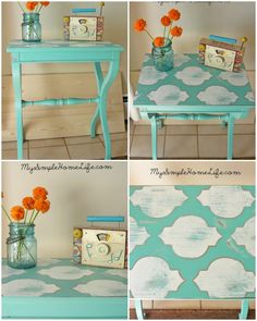 Buy cheap tv stands and paint them! Would make a cute side table for a chair. This makes me want to dress up the ones we have!