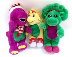 Vintage Barney & Baby Bop Plush Lot Set The Lyons Group Stuffed Doll Green Dinosaur Animal Retro Rare Classic TV Show Kids Barney & Friends, 90s Toys, Polly Pocket, 3rd Baby, Classic Tv, Vintage Girls, Toys For Girls, 2000s, My Little Pony